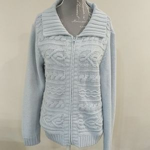St John's Bay petite baby blue zip-up sweater